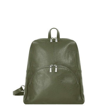 Khaki Pebbled Leather Backpack Bag - Brix and Bailey® - Contemporary Bag, Watch and Accessory Brand