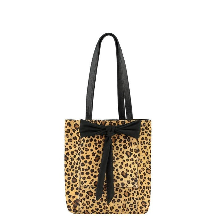Small Bow Hair On Hide Leather Tote Leopard Brix + Bailey