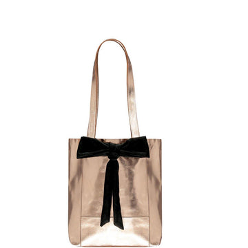 Small Bow Soft Metallic Leather Tote Bag Rose Gold