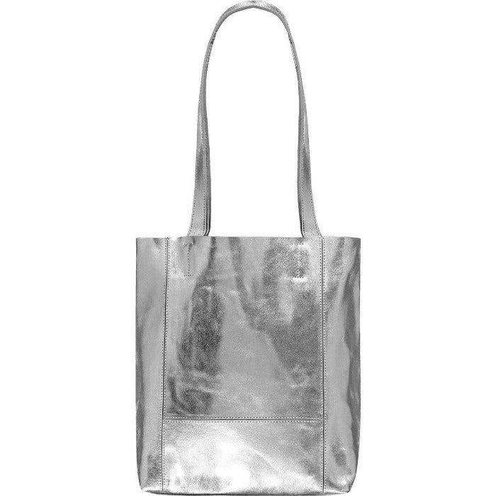 Tote Bag Small Bow Soft Metallic Leather  Silver Brix and Bailey