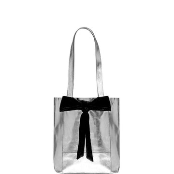 Small Bow Soft Metallic Leather Tote Bag Silver