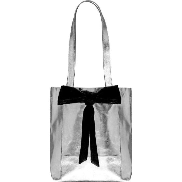 Small Bow Soft Metallic Leather Tote Bag Silver Brix and Bailey