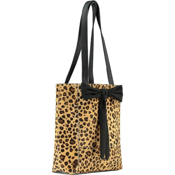 Hide Leather Tote Small Bow Hair On  Leopard Brix + Bailey