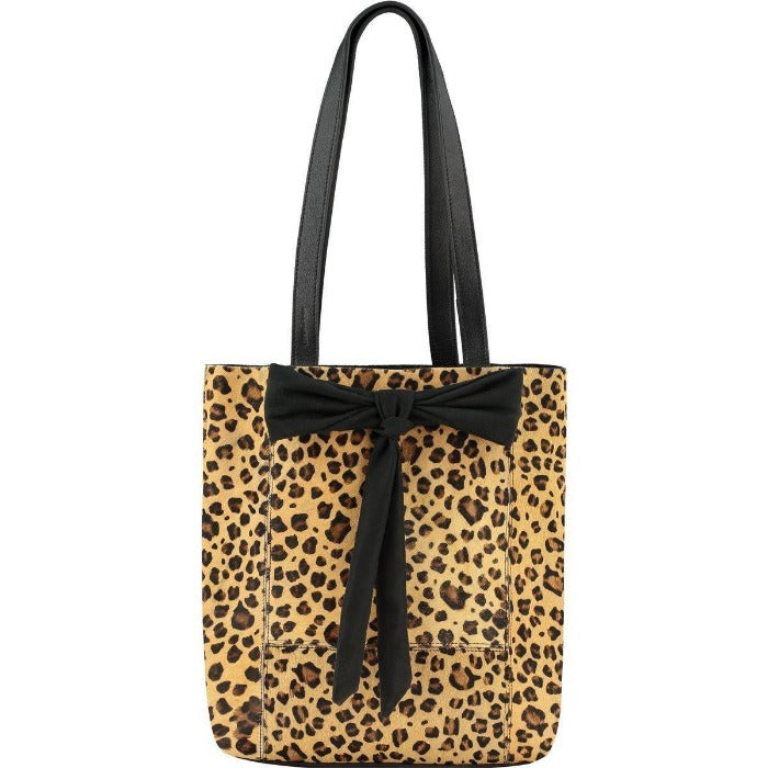 Small Bow Hair On Hide Leather Tote Leopard Pony Skin
