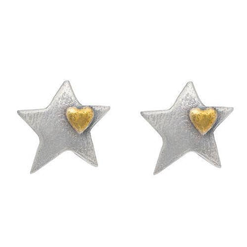 Silver Star Mini Heart Stud Earrings