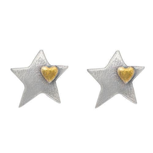 Silver Star Mini Heart Stud Earrings - Brix and Bailey® - Contemporary Bag, Watch and Accessory Brand