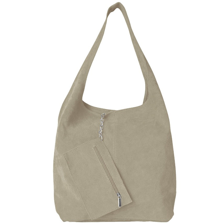 Beige Soft Suede Hobo Shoulder Bag