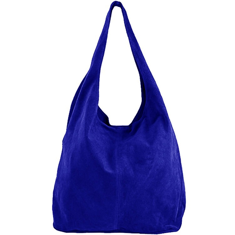 Electric Blue Soft Suede Hobo Shoulder Bag