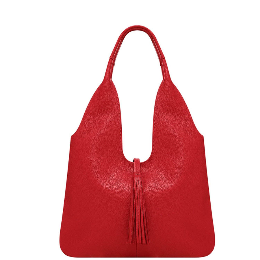 Red Tassel Leather Hobo Bag - Brix and Bailey® - Contemporary Bag, Watch and Accessory Brand
