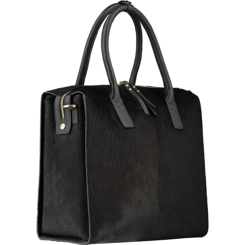 Doctors Style Black Hair On Hide Leather Top Handle Bag Brix + Bailey