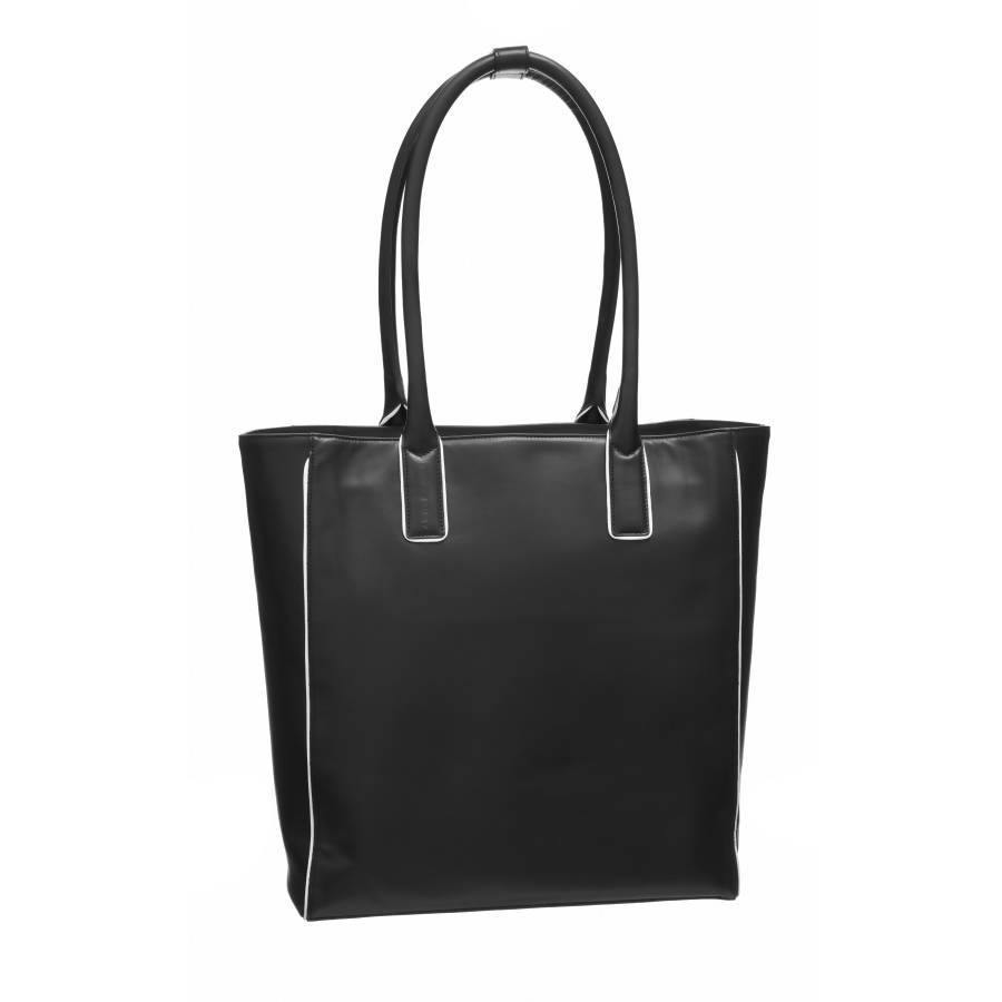 Black Piped Leather Day Tote - Brix and Bailey® - Contemporary Bag, Watch and Accessory Brand