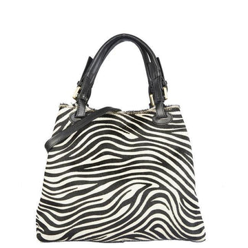 Zebra Print Leather Hobo Shoulder Bag - Brix and Bailey® - Contemporary Bag, Watch and Accessory Brand