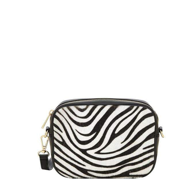 Zebra Print Hair On Hide Leather Small Cross-Body Bag - Brix and Bailey® - Contemporary Bag, Watch and Accessory Brand