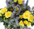 Artificial 43cm Purple Lavender and Yellow Rose Display in a 20cm Basalt Black Square Planter - Closer2Nature
