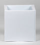 Portofino Collection 20cm Gloss White Galvanised Steel Square Planter Closer2Nature