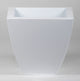 Portofino Collection 40cm Gloss White Galvanised Steel Curved Tapered Square Planter - Closer2Nature