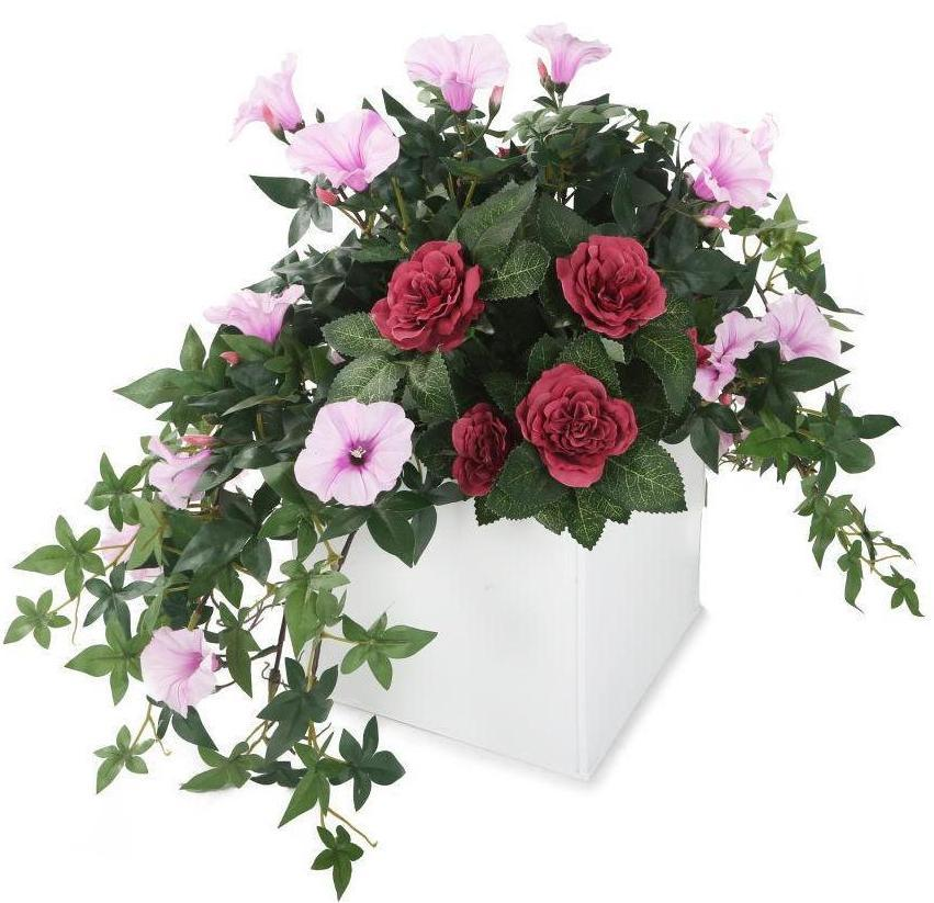 Artificial 35cm Pink Morning Glory and Mulberry Pink Rose Display in a 20cm Gloss White Square Planter - Closer2Nature