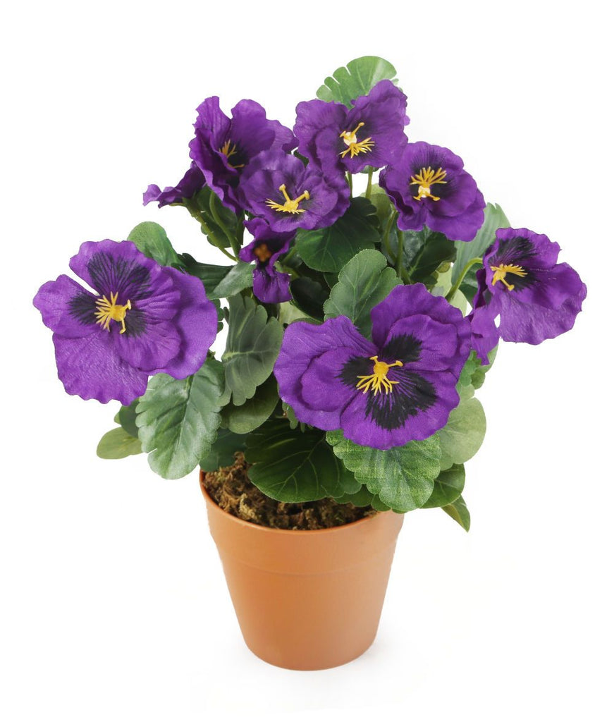 Artificial 30cm Purple Pansy Plug Plant - Closer2Nature