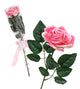 Artificial 48cm Single Stem Pink and Red Gift Wrapped Roses - Closer2Nature