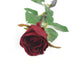 Artificial 52cm Single Stem Closed Bud Burgundy Rose - Closer2Nature