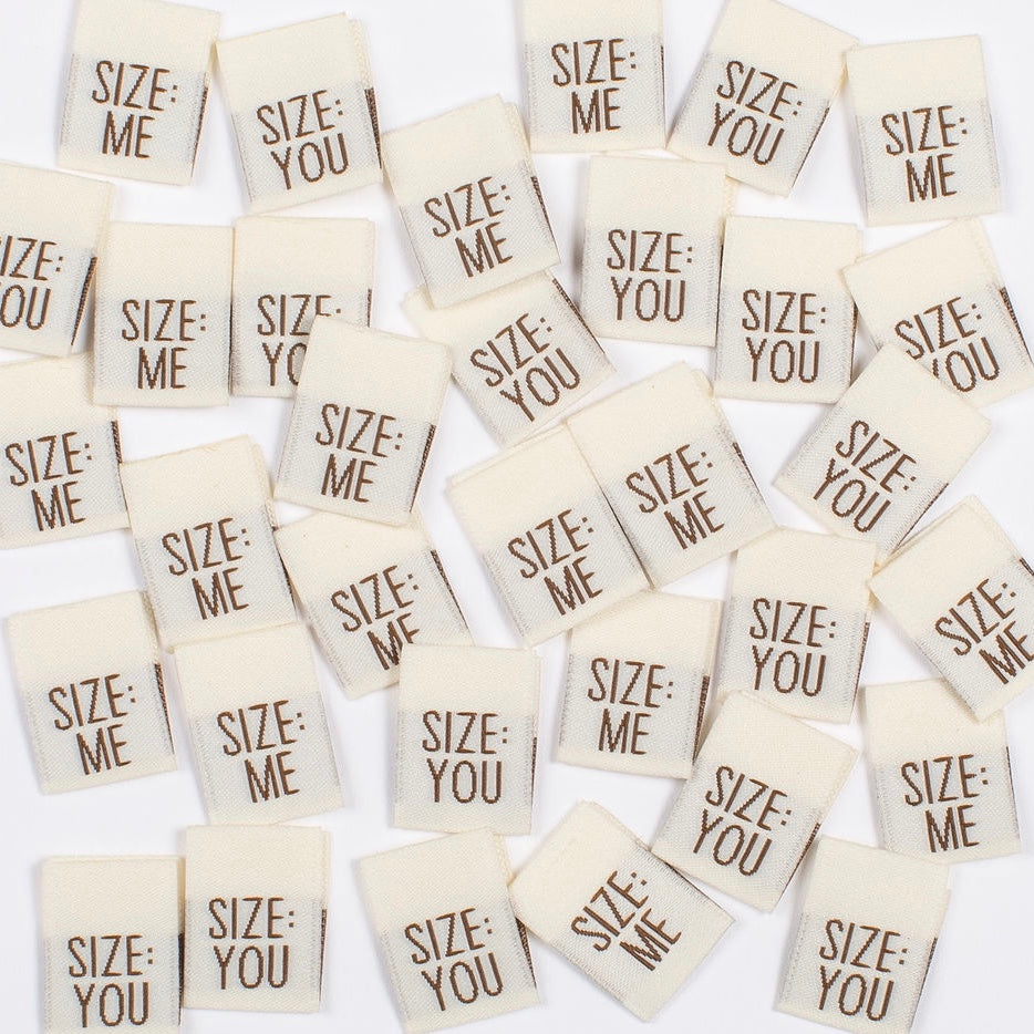"Kylie and the Machine - Woven labels - ""Size You / Size Me"""