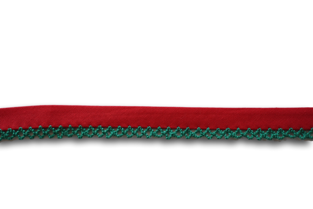 Sewing Gem - Crochet Bias Binding - Red with Emerald Trim
