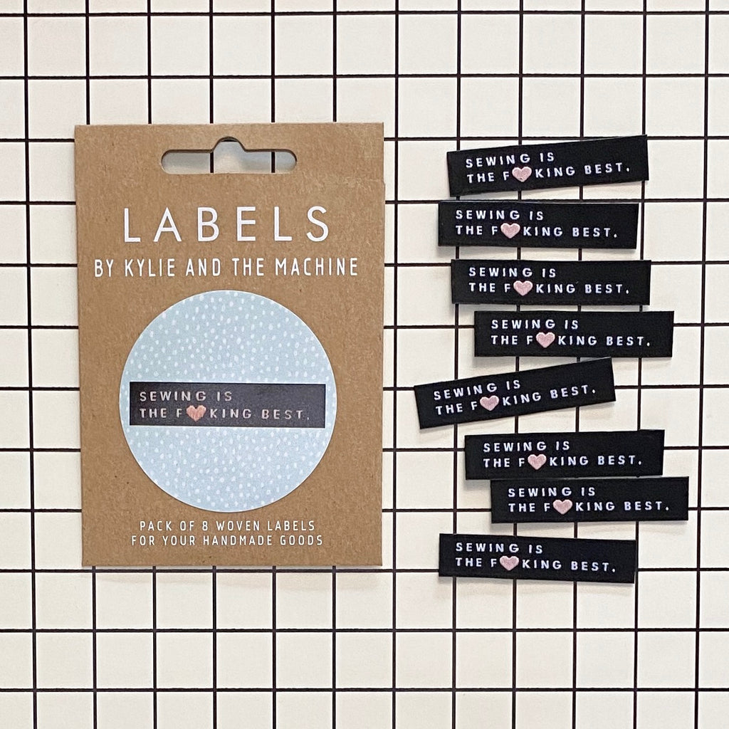 "Kylie and the Machine - Woven labels - ""Sewing is the F**king Best"""