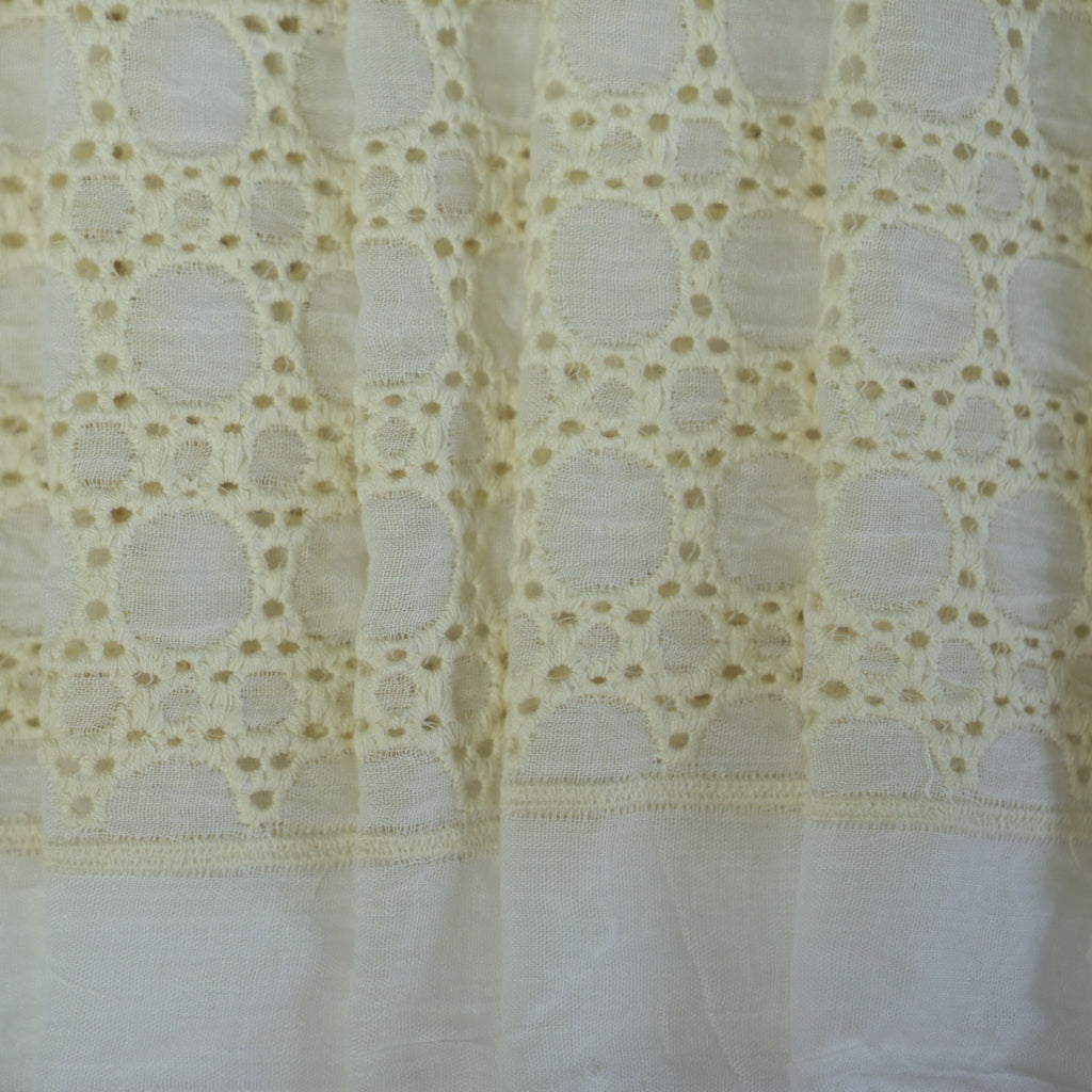 Embroidered Cotton - Cream Circles - 68% Cotton 32% Polyester