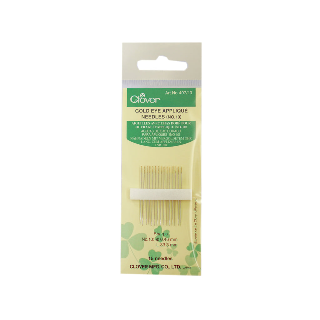 Clover - Gold Eye Applique Needles - Size 10