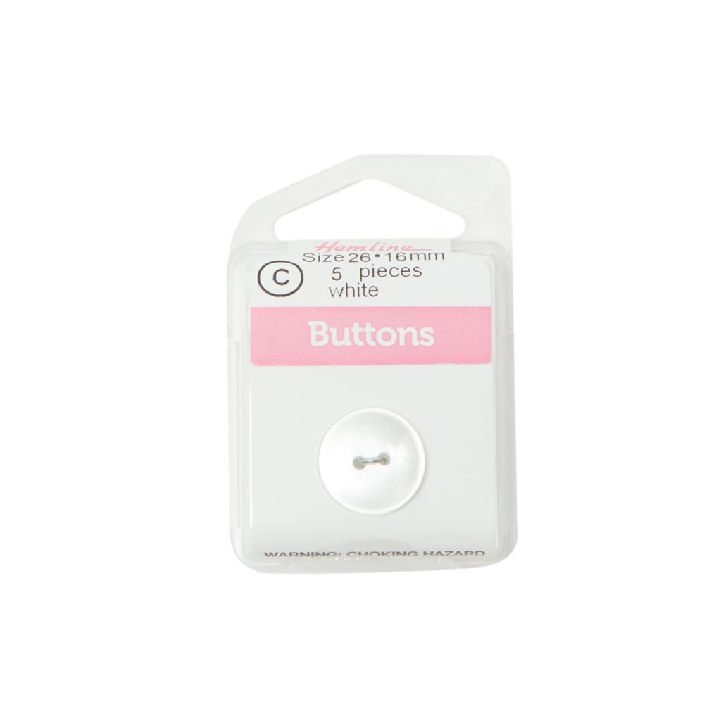 Hemline - White Buttons - 16Mm - All Products