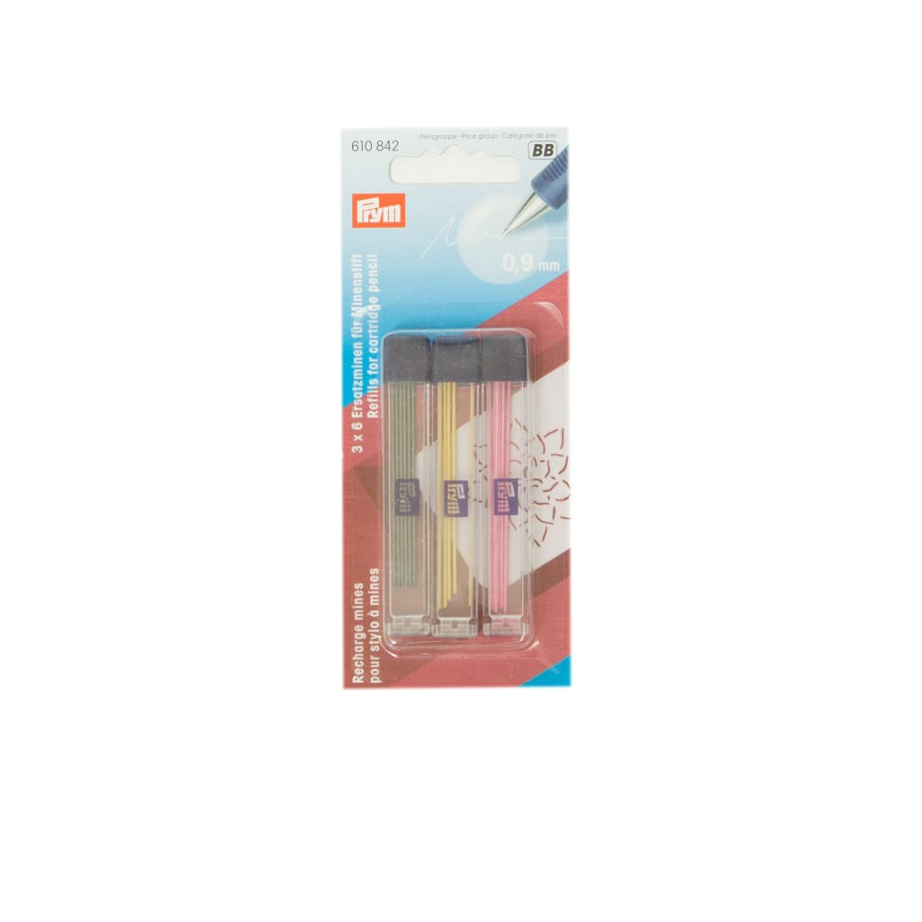 Prym - Cartridge Pencil Refills - 0.9Mm Yellow Pink & Black - All Products