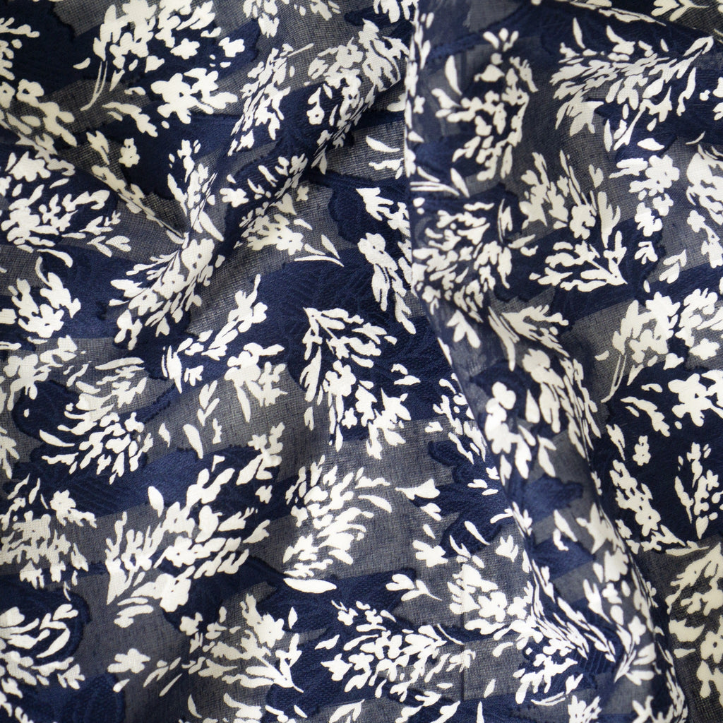 Cotton Jacquard - 100% Cotton - Navy & White