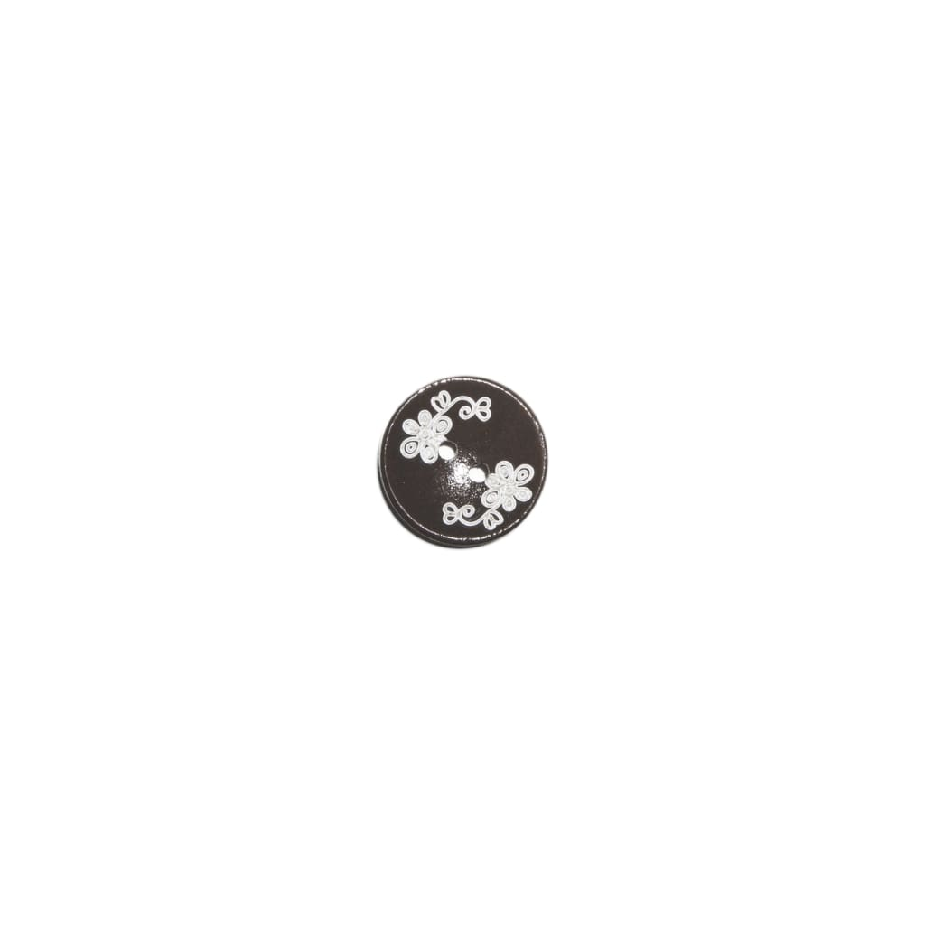 Sewing Gem - 2 Hole Flower Carved Wooden Button - 20Mm - All Products