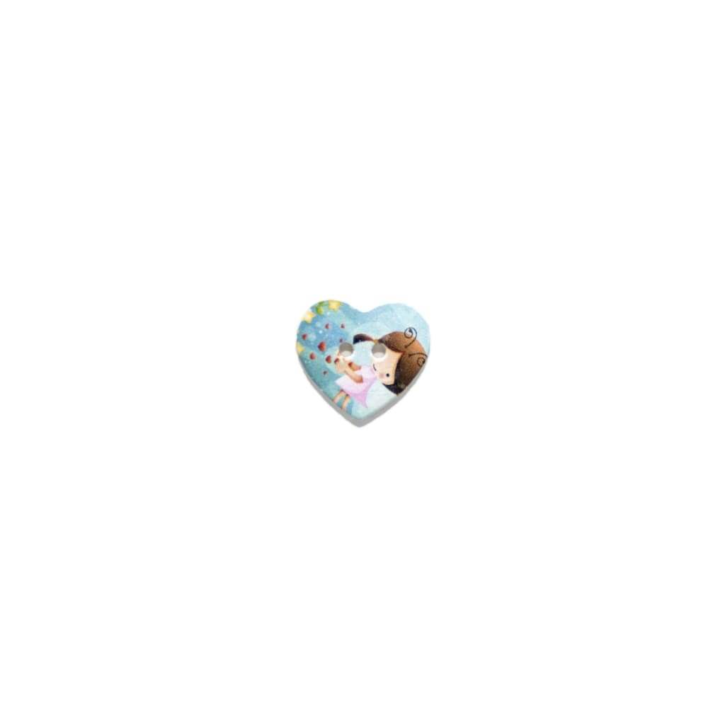 Sewing Gem - Heart Shaped Wooden Button - 25Mm - All Products