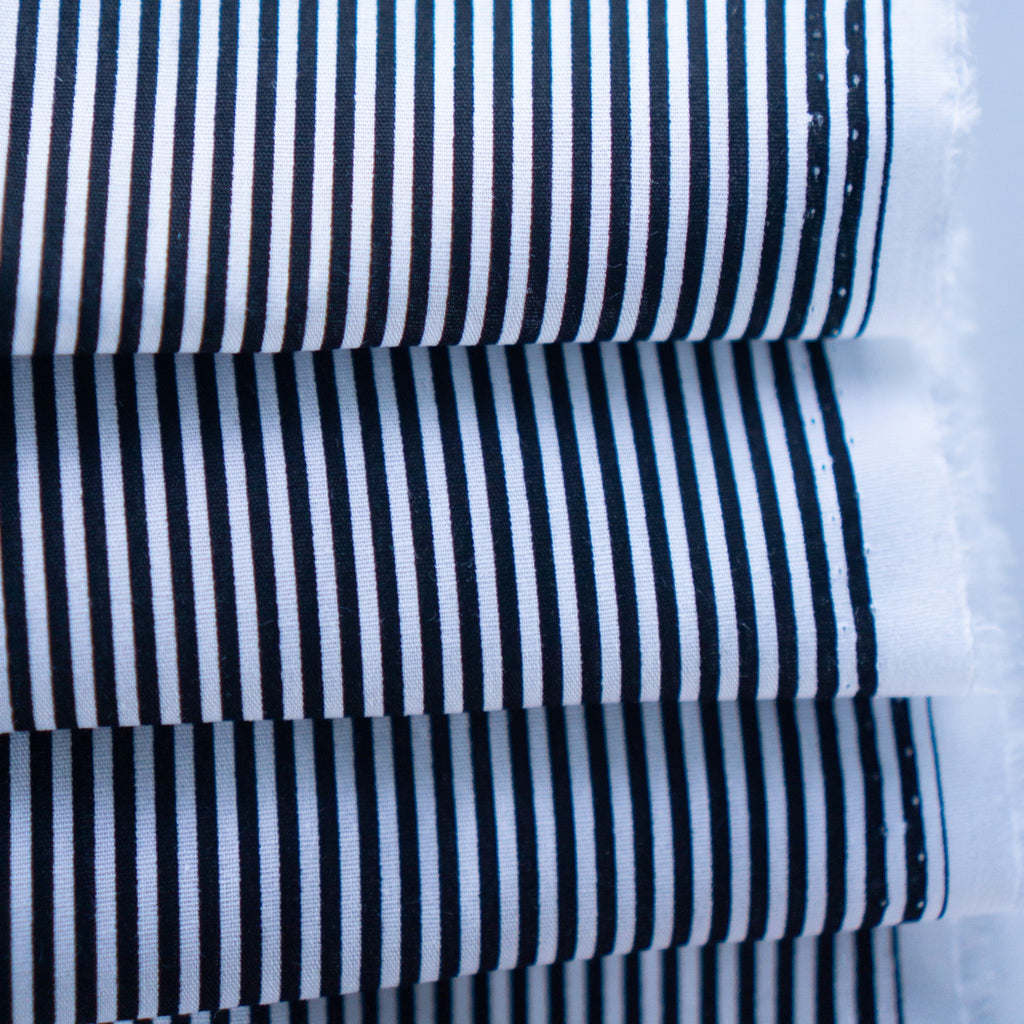 Lightweight Cotton - Black and White Stripes
