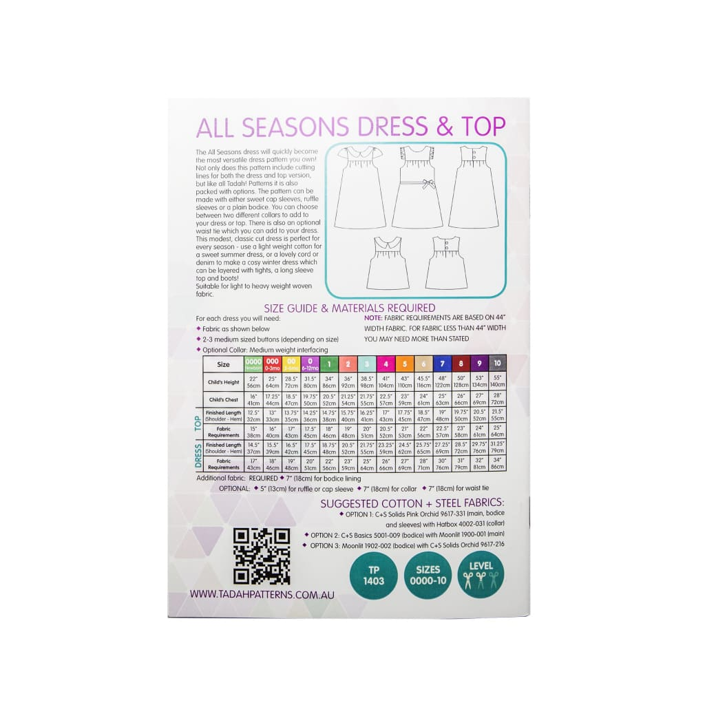 Tadah! Patterns - All Seasons Dress And Top Pattern - All Products