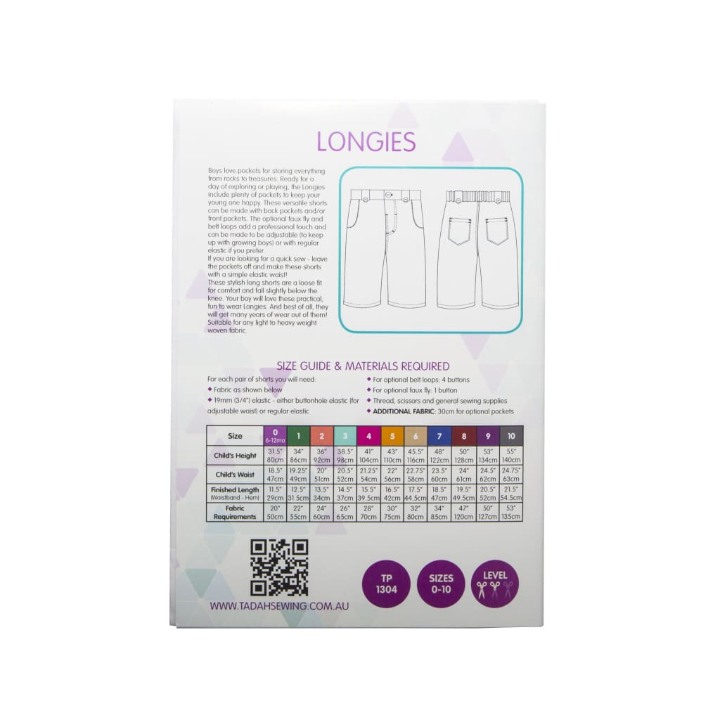 Tadah! Patterns - Longies Sewing Pattern - All Products