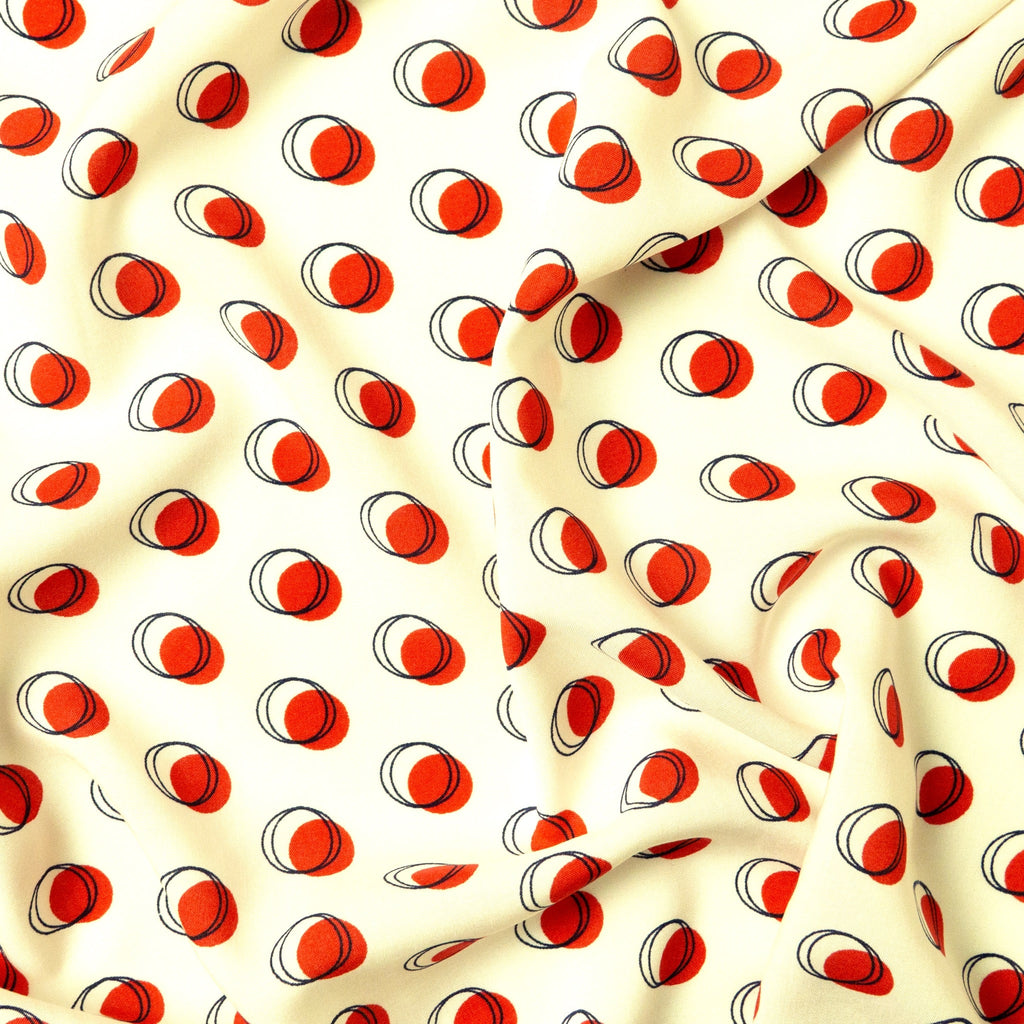 Viscose - White With Red Spots
