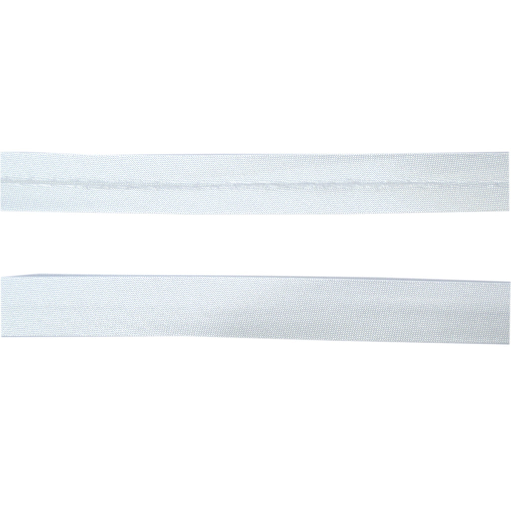 Sewing Gem - 12mm Satin Bias Binding - White