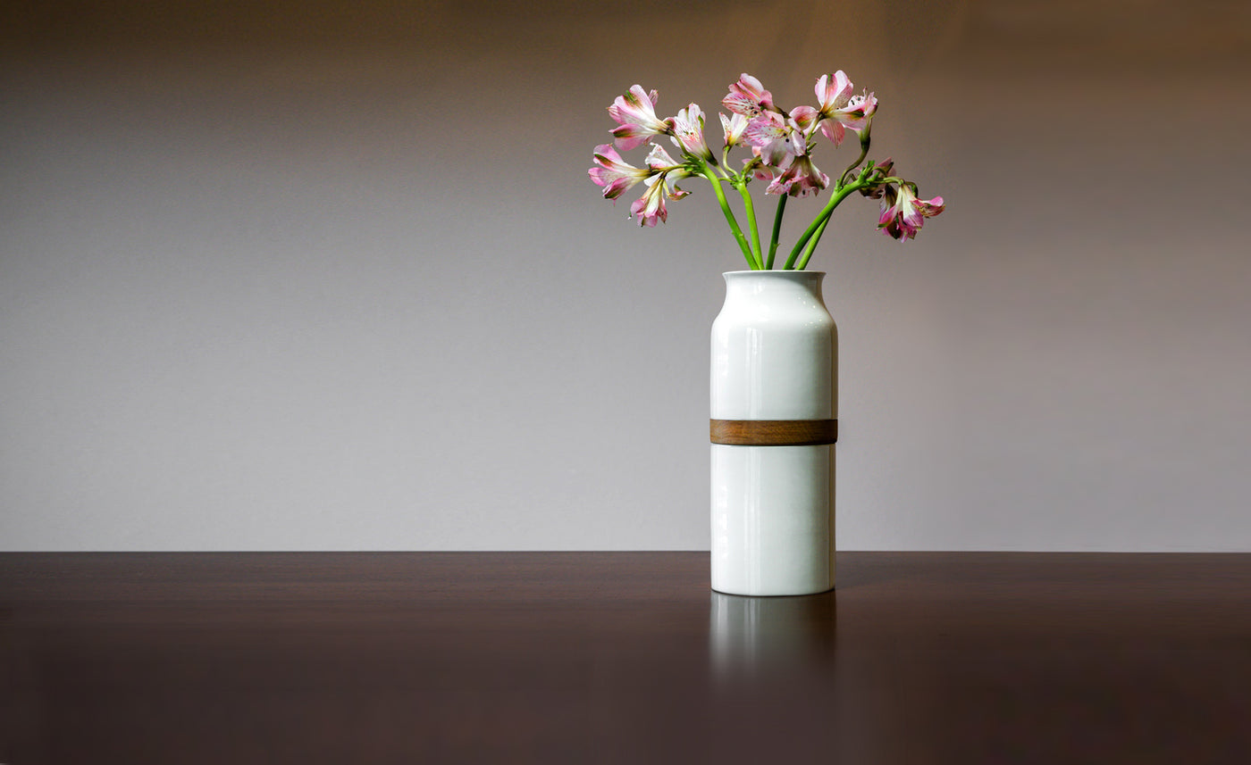 Pet Urn Vase - White with Dark Wood