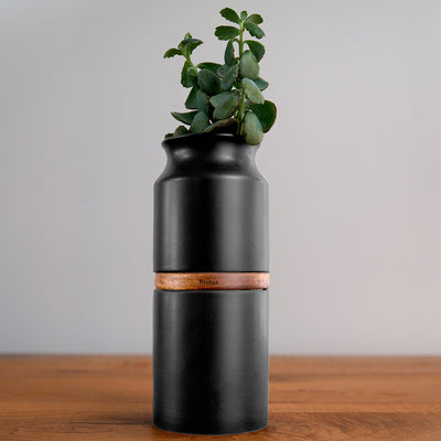 Pet Urn Vase: Matte Black with Dark Wood