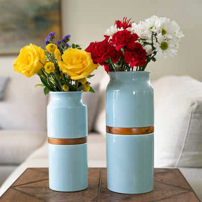 Pet Urn Vase: Pale Blue with Dark Wood