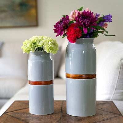 Pet Urn Vase: Grey with Dark Wood