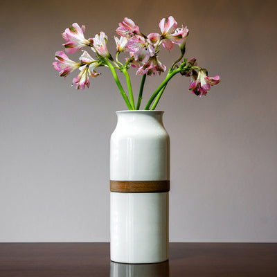 Pet Urn Vase: White with Dark Wood