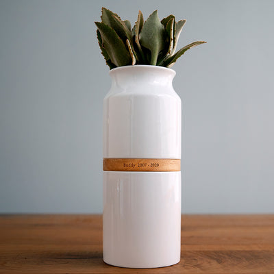 Pet Urn Vase: White with Light Wood