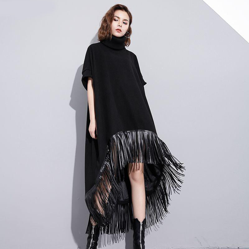 FAUX LEATHER TASSEL FRINGE HIGH COLLAR LOOSE DRESS