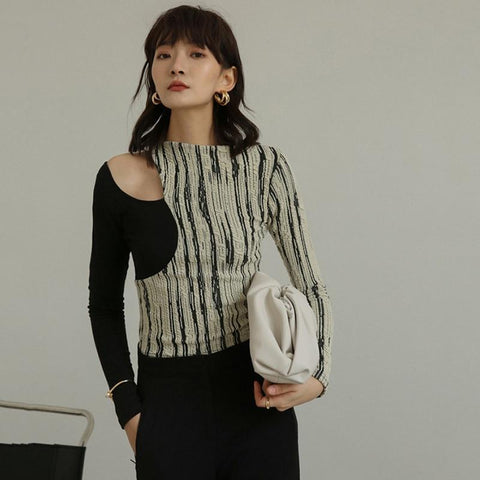 Black Striped Hollow Out Shoulder Top
