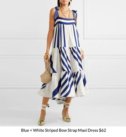 Blue + White Striped Bow Strap Maxi Dress