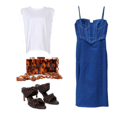 muscle tee, blue cami dress, tortoise bag, woven sandals