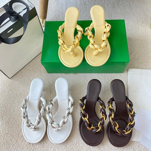 Braided Leather + Chain Thong Heeled Sandals